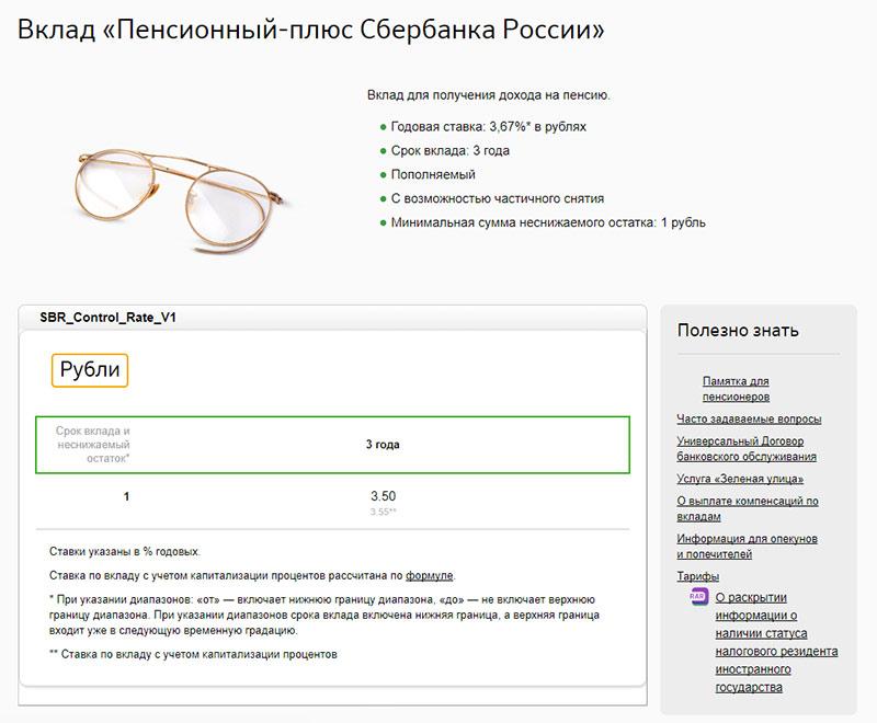 Вклад «Пенсионный-плюс Сбербанка России»